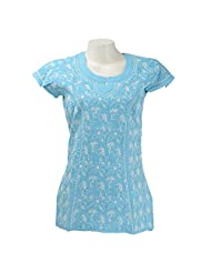 Imperial Chikan Women Cotton Chikankari Blue Regular Fit Top - B00PZGK9RS
