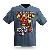 Logoshirt - Marvel Iron Man T-Shirt, stone blue, Größe:M