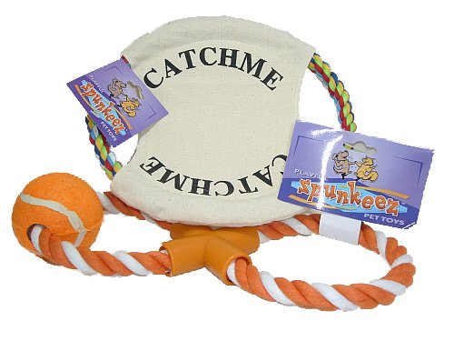 Dog Toy Lot -- Rope Ring Catch Me & Rope Tug Toy Orange