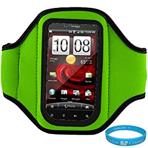 Green Moisture Resistant Neoprene Protective Exercise Workout Armband with Adjustable Velcro Strap for HTC Droid Incredible 2 (ADR6350) Verizon Wireless Android Smartphone / HTC Incredible S Mobile Phone + SumacLife TM Wisdom Courage Wristband