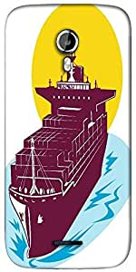 Snoogg container cargo ship Designer Protective Back Case Cover For Micromax A117