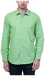 PRIknit Men's Casual Shirt (AF-S3-GR, Green, 40)