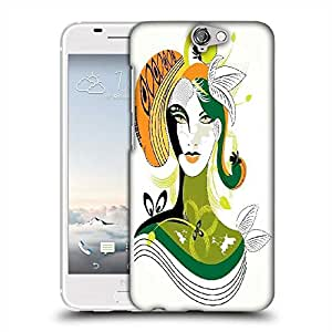 Snoogg colorful abstract woman wih green leaf Designer Protective Back Case Cover For HTC one A9