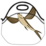 Snoogg Flying Fish Retro Style Travel Outdoor Carry Lunch Bag Picnic Tote Box Container Zip Out Removable Carry Lunchbox Handle Tote Lunch Bag Food Bag For School Work Office
