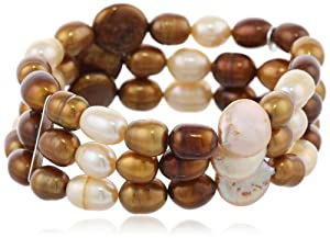 Sterling Silver 3-Row Multi-Brown Freshwater Cultured Pearl Bracelet, 7.5