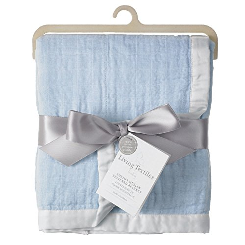 Living Textiles Muslin Textured Blanket, Blue (Discontinued by Manufacturer)