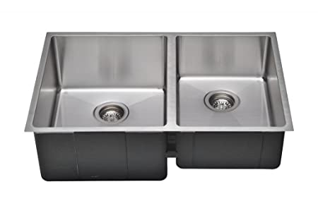 Wells Sinkware CSU3020-97-1 Commercial Grade 16-Gauge Handcrafted Double-Bowl Undermount Kitchen Sink Package, Stainless Steel