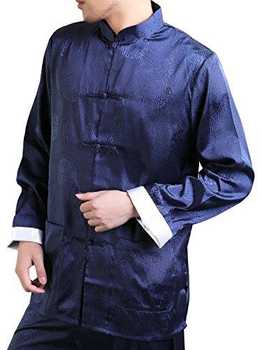 Enter the Dragon Chinese Clothing Shirt Plus Free Matching Pants (X-Large, Navy blue)
