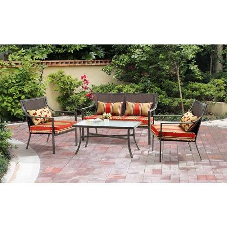 4-piece Patio Conversation Set Red Stripe with Butterflies, Seats 4 photo