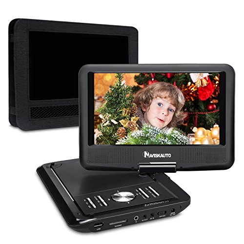 NAVISKAUTO 9 Inch Portable DVD/CD/MP3 Player USB/SD Card Reader with 5 Hour Built-In Rechargeable Battery, 270° Swivel Screen, 3m AC/DC Adapter and Customized Car Headrest Mount Case-Black (Portable Cd Dvd Usb compare prices)