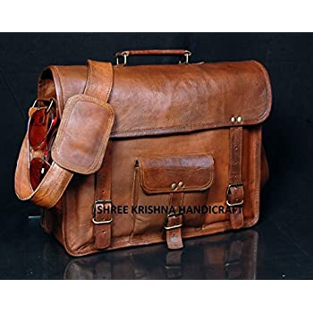 SKH Men's Genuine Vintage Brown Leather Messenger Shoulder Laptop Bag for Upto 15-Inch Laptop