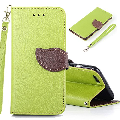 TOPHY Newest iPhone 6/6s/Plus Case, IVY Green with Leaves Magnetic Snap and Lanyard, Series Wallet Card Flip Synthetic Holster Leather Stand for iPhone 6/6s/Plus. (5.5 inch, Light green)