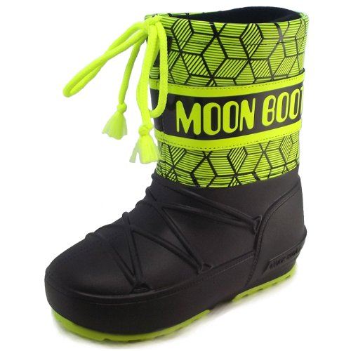 Moon Boot by Tecnica Pod Rave Junior 34020200-001 Kinder Winterstiefel, black/fluo yellow, Gr. 31-32 EU / 12.5-13 UK C