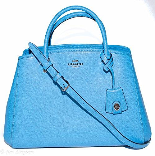 Coach Crossgrain Leather Margo Carryall Satchel Purse - #F34607 (Coach Purse Blue compare prices)