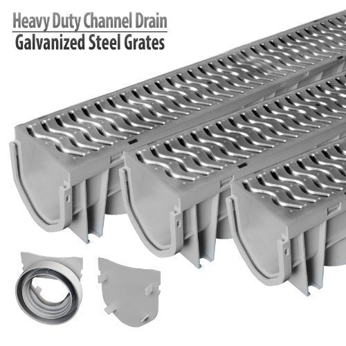 Source 1 Drainage Trench & Driveway Channel Drain with Galvanized Steel Grate – 3 Pack