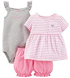 Carter\'s Baby Girls\' 3 Piece Striped Romper Set (Baby), Pink/White, 9 Months