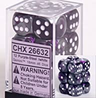 Chessex Dice d6 Sets: Gemini Purple & Steel with White – 16mm Six Sided Die (12) Block of Dice