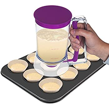 Kitchen Savior Premium Cake Batter Dispenser with Measuring Label for Pancakes, Waffles, Cupcakes, Muffins and Crepes - Measures 4-Cups or 900-Milliliters by Kitchen Savior