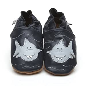 Chaussons Bébé en cuir doux - Requin - 6/12 mois