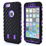 Meaci® Cellphone Case for Iphone 6 Plus 5.5 Inch Case 3in1 Tire Stripe Combo Hybrid Defender High Impact Body Armorbox Hard Pc&silicone Protective Bumper Case (Tire purple)