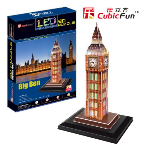 Free Shipping!Diy 3D Puzzle Paper Model Big Ben With Led Light 28Pcs Home/Office Decoration