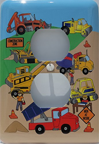 Construction Light Switch Plates / Outlet Cover / Construction Theme with Bulldozers, Tractors, Cement Truck, Steamroller, Krane, and Dump Truck Switch Plate (Used Dump Trucks compare prices)