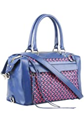 Rebecca Minkoff Woven Poppy Pink Navy Leather MAB Mini Convertible Bag