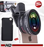iPhone Camera Lens Kit UNIVERSAL Professional New Model HD DSLR HIGH DEFINITION Best for iPhone, Samsung Galaxy S6 / S5 (0.45x Super Wide Angle Lens + 12.5x Super Macro Lens + 37mm Thread Clip Holder)