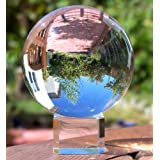 Crystal Meditation Ball Globe 80 Mm, Clear, Free Stand