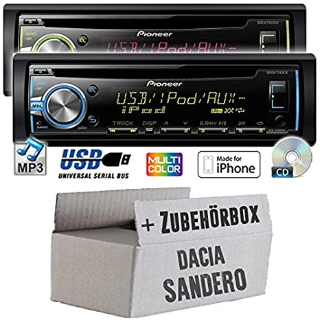 Dacia sandero pioneer dEH-x3800UI-cD/mP3/uSB avec kit de montage