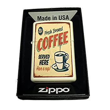 Zippo Custom Lighter - 1950's Vintage Coffee Poster - Regular Cream Matte