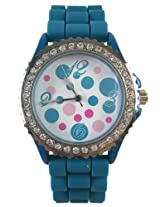 Ladies Retro Dots Watch with Blue Silicone Band - Womens Fashion Watch with Rhinestone Bezel