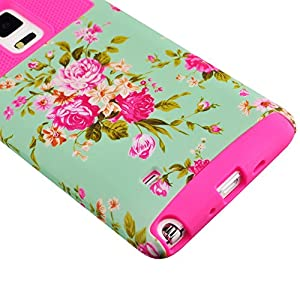Galaxy Note 4 Case, Sophia Shop Non-Slip Perfect-Fit Hard Plastic Silicone Protective Case Rubber Bumper Slim Heavy Duty Dual Layer Cover For Samsung Galaxy Note 4 (Floral Rose)