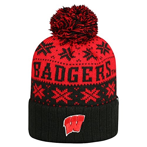 Wisconsin Badgers Subarctic Cuffed Pom Knit Beanie Hat / Cap (Wi Badger Hat compare prices)