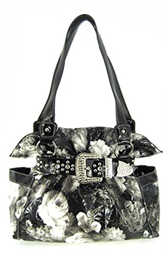 Quilted Rose Floral Rhinestone Western Buckle Belted Laminated Purse (black / white)