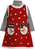 Bonnie Jean Girls Christmas Snowman Holiday Jumper Dress Set, Red, 6