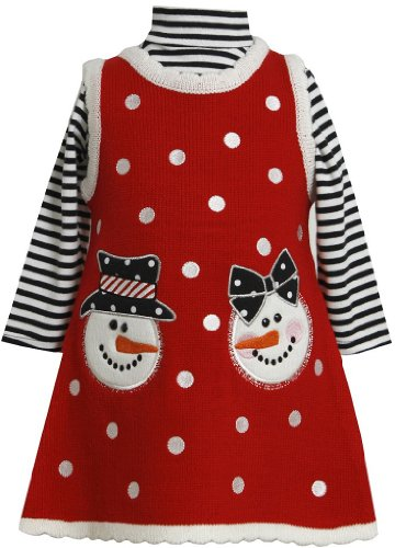Bonnie Jean Girls Christmas Snowman Holiday Jumper Dress Set, Red, 5