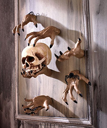 Ceramic Halloween Clawing & Grabbing Hand Wall Decoration, Set of Six (6) (Life Size Severed Hand)