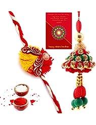 Ethnic Rakhi Designer Colorful Floral Pattern Fashionable And Stylish Bhaiya Bhabhi Mauli Thread And Beads Rakhi... - B01IIMCKFY