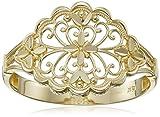 14k Yellow Gold Diamond Cut Filigree Ring, Size 7