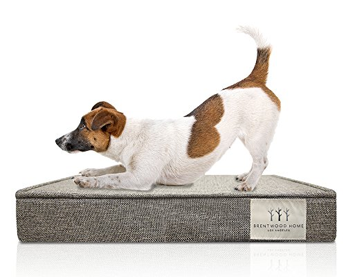 Brentwood Home 4″ Gel Memory Foam Orthopedic Pet Bed, X-Large, Checkered Grey