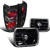Chevy S10 Tahoe Blazer GMC S15 7X6 Black Headlights+Smoke Lens Tail Lamps