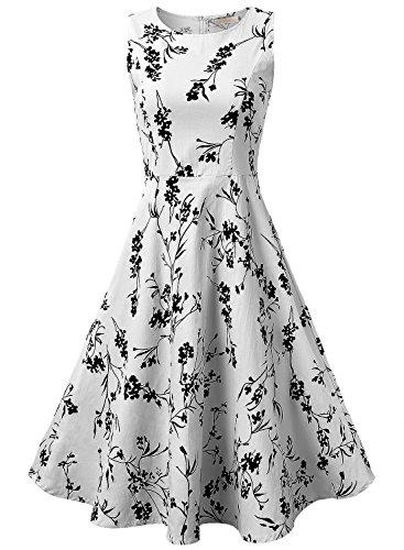 EA Selection Vestito a fiore senza manica dress svasato - Donna Bianco-02 X-Large