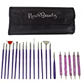 Nail Art Brushes, Dotting Pens Marbling Detailing Painting Tools 20pc Kit Set with Roll-Up Pouch - FREE eBook with Design Idea - Best Nail Art Supplies - For Women Girls Teens Kids by New8Beauty