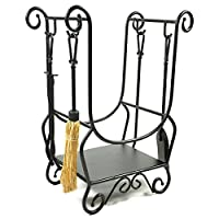 WoodEze HR26216A Scroll Wrought Iron Firewood Rack with Fireplace Tools & Fire Starter Shelf | Black Finish