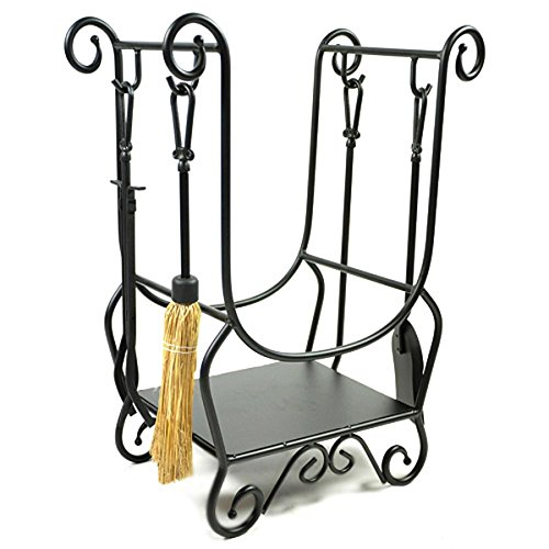 WoodEze HR26216A Scroll Wrought Iron Firewood Rack with Fireplace Tools & Fire Starter Shelf | Black Finish (Wood Stove Tongs compare prices)