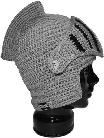 Crochet Knight Helmet : Authentic Soul Crochet Knight Helmet Hat Beanie (Gray Black) at Amazon ...