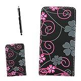 Gr8value VARIOUS DESIGN PU LEATHER MAGNETIC FLIP CASE COVER POUCH FOR HTC Sensation XL + FREE STYLUS (grey flower black flip case)