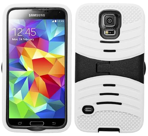 Mylife Ghost Armor White And Black - Shockproof Survivor Series (Built In Kickstand + Easy Grip Ridges) 2 Piece + 2 Layer Case For New Galaxy S5 (5G) Smartphone By Samsung (Internal Flex Silicone Bumper Gel + Internal 2 Piece Rubberized Fitted Armor Prote