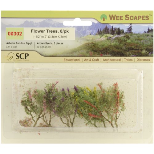 "Flower Trees 1-1/2"" To 2"" 8/Pkg-Red/Pink/Yellow/Purple"